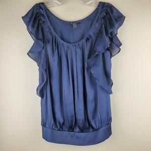 XXI Black Short Sleeve Ruffle Blouse - Size S